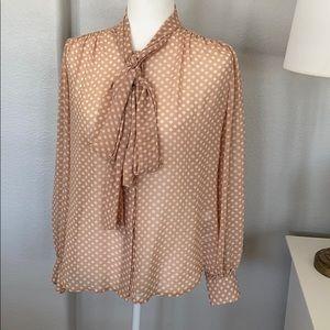 NY & Co. Polka Dot Tie Neck Blouse Small
